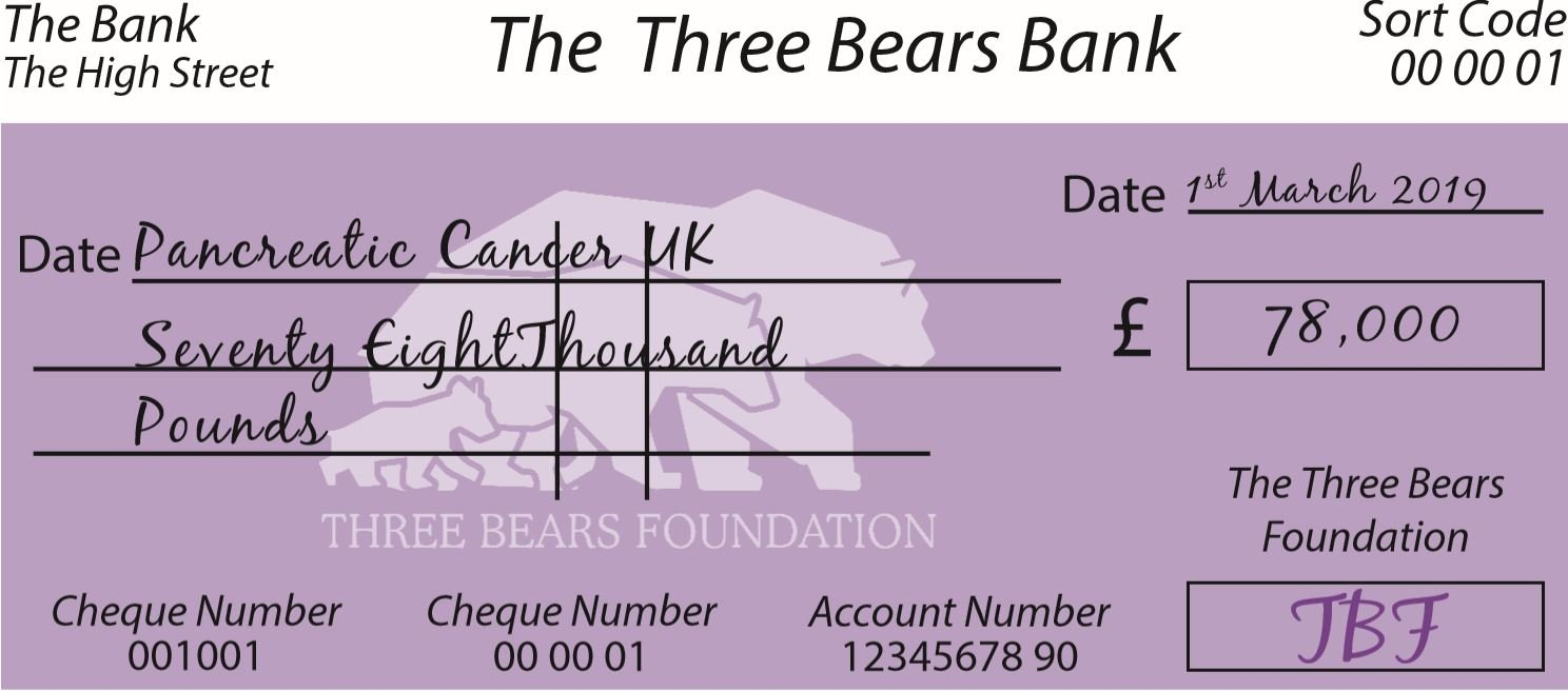Three Bears Cheque for Pancreatic Cancer